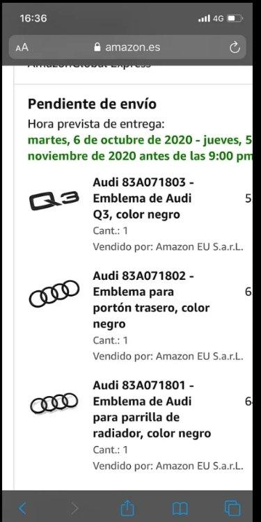 Emblema de Audi para parrilla de radiador color negro Audi 83A071801