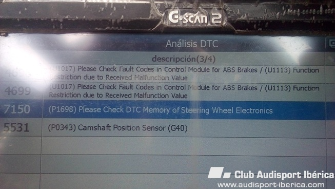 que opinan de estos fallos segun scanner audi - General - Audisport